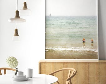 Large Living Room Decor, Big Wall Art, Modern Home, Big Photo, Beach photo, Pastel Print, Dining Room Decor, Scandinavian Art, Mint Print