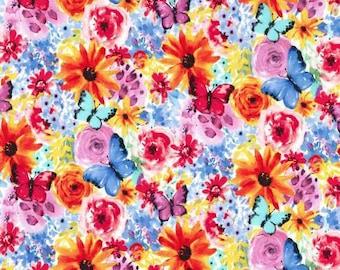 NEW Michael Miller Garden Party Multi Big Bang Blooms fabric - 1 yard