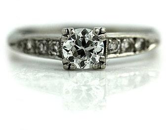 Vintage Diamond Ring Platinum Antique Old European Cut Estate Engagement Ring .70ctw 1930 Art Deco Engagement Ring Size 7.5!