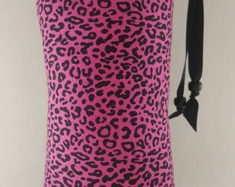 Hand Pipe Sized, Medium Sized, Padded, Cheetah, Black, Pink, Black and Pink, Print, Cute Bag, Glass Pipe Bag, Padded, Pipe Bag, Pipe Pouch