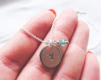 Sterling Silver Initial Necklace with Birthstone | Hand Stamped Sterling Necklace