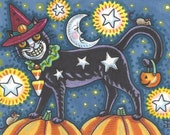 Halloween Black Cat Starry Night Man In The Moon Art ACEO Susan Brack Ebsq EHAG