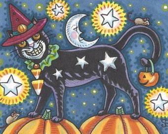 Halloween Black Cat Starry Night Man In The Moon Art ACEO Susan Brack Ebsq EHAG