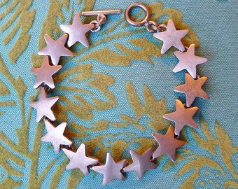 Shooting Stars // Vintage Handmade Sterling Silver Star Bracelet 925, Boho Bohemian Moonchild Art Deco Papermoon Bohochic Bridal Witch Gypsy