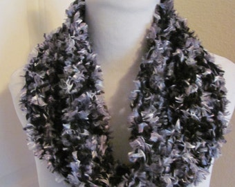 """Lovely Soft Thick Black Gray Fuzzy Chunky Ladies Cowl Scarf - 7"""" Wide (07)"""