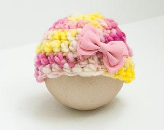Newborn Girl Strawberry Lemonade Beanie Hat Brown Bow Pink Yellow RTS