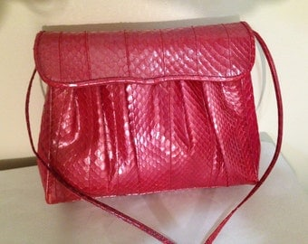 Vintage Morris Moskowitz Pink snake Skin Purse Bag