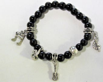 Black Glass Beads with Musical Notes and Guitar Charm Stretchy Bracelet