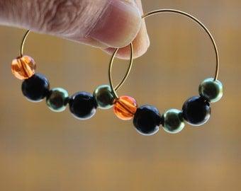 Hoop earrings - orange earrings, green earrings, orange, green and black beads, medium size hoop earrings