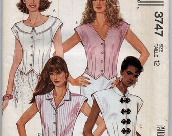 Misses' Tops in Four Views Sewing Pattern - McCall's 3747 - Size 12 - UNCUT