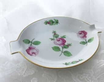 Herend Porcelain Ashtray Small Ashtray Hand Painted Pink China Roses