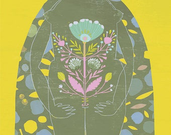 WOMAN art print //  yellow green womanhood illustration // feminine // body // flowers