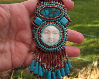 Moon Spirit Medicine Woman Bead Embroidered Necklace