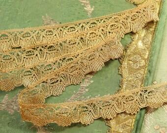 """63"""" Antique tiny intricate metal lace picot santos antique flapper ribbonwork metal gold trim soutache braid cording trim ribbon"""