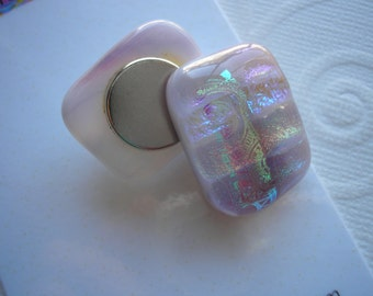 Magnets Fused Glass Pale Lilac with Pastel Dichro Bands Dichroic Fused Glass Refrigerator Kitchen Matching Stocking Stuffer Hostess Gift