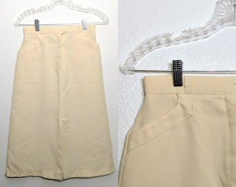Vintage 70s pale yellow A-line skirt / angled front pockets / size S small