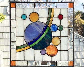 "Galaxy 3 --18"" x  18"" - Stained Glass Window Panel"