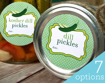 Cute Dill, Sweet, Bread & Butter Pickle, and Relish canning jar labels, round canning labels for regular and wide mouth mason jars