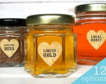Vintage honey beekeeper heart labels, Raw Organic Local & Pure honey labels, Save the Bees labels, honey season stickers for beekeepers