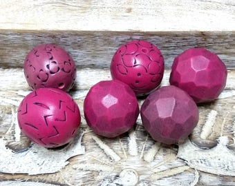 Fuchsia Bead set for jewelry making, Polymer Clay Bead, Organic Rustic Style beads, Hand Carved Beads, Textured Dark Pink Beads, Bead shop