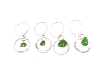 Sterling Sea Glass Earrings - Lake Erie Beach Glass Earrings - Jewelry Gift For Her - Lake Earrings - 925 Sterling Jewelry