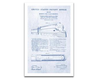 Pennsylvania Railroad K4 Patent Art Giclee on archival matte paper