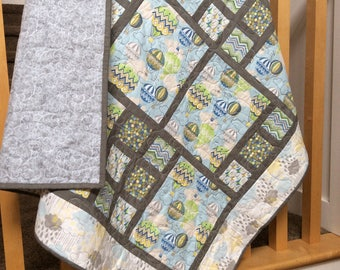 Child's Handmade Quilt - Baby Quilt - Baby Blanket - Modern Quilt - Blue - Gray - Balloons  - Homemade - Cotton