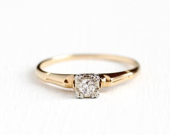 Vintage 14k & 18k Yellow and White Gold .13 Carat Diamond Solitaire Ring - Size 9 3/4 Mid Century 1940s Fine Engagement Bridal Jewelry