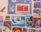 Final Frontier 50 Premium Vintage Postage Stamps Space is the Place Moon Landing Nasa Cosmonaut Astronaut Planets Sun US Worldwide Philately