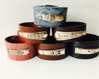 Silverware Leather Cuffs- You Pick Your favorite!
