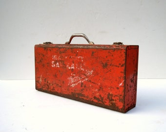 Red Metal Tool Box / Milwaukee Sawzall / Rusty Metal Distressed Tool Box with carry handle and latches / Storage Organization / Metal Box
