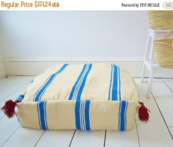 SPRING 30% OFF SALE /// Ideas,White with Blue Kilim Moroccan Floor Cushion Pouf -home gifts, wedding gifts, anniversary