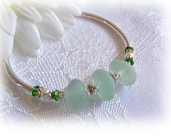 Beach Glass Bracelet - Seafoam Seaglass Bangle Bracelet
