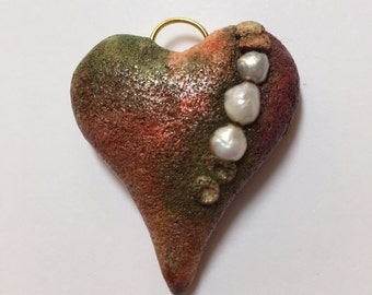 Rustic Polymer Clay Heart With Pearls