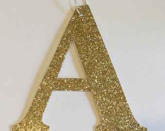Alphabet glitter ornament Tag
