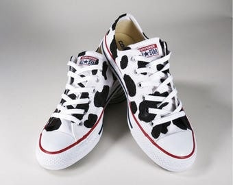 Kids Cow Print Converse Custom Hand Painted Kids Converse Shoes
