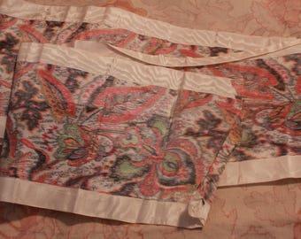 Stunning Antique Watered Silk Ribbon Paisley Pattern Ribbonwork Victorian