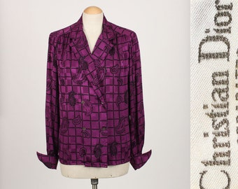 vintage DIOR silk blouse • royal purple 1970s 80s designer blouse