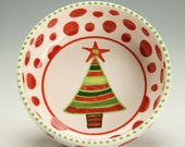 Christmas Tree Bowl, Whimsical Christmas Decor, Hand Painted