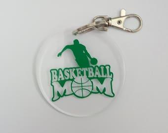 Basketball Mom Acrylic Key Fob Choice of School Color