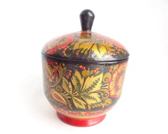 Vintage Russian Lacquer Covered Bowl for Sugar