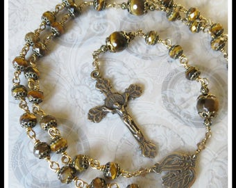 Classic Rosary in Brown Tiger Eye Faceted Gemstones, Bronze Heirloom Quality Rosary, Large Size