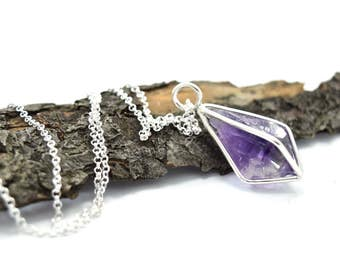 Amethyst Crystal Point Necklace in Sterling Silver - Gemstone Cage Necklace - Choose Your Finish - E