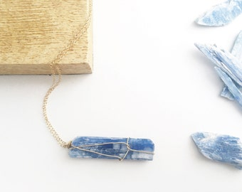 Raw Kyanite Necklace-14k gold filled necklace, raw kyanite necklace, pendant necklace