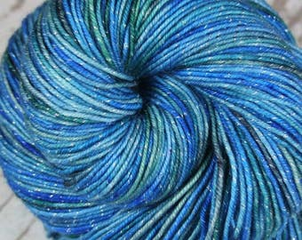 EVENING at Nanoose Bay: Superwash Merino Wool-Lurex Sparkle - Fingering / Sock Weight Yarn - Hand dyed - Indie dyed - Variegated - Blue yarn