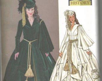 Scarlett O'Hara Green Drapery Dress Civil War Dress Gone With the Wind Butterick 4051 Sizes 6-8-10 Bust 30.5-32.5 Women's Sewing Pattern