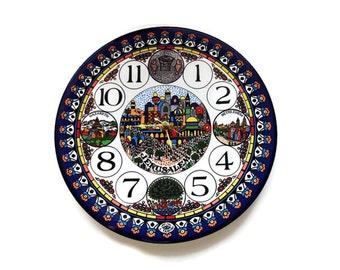 Jerusalem Ceramic Clock/ Hand Painted Judaica  Wall Clock/Vintage Jewish Collectible /Battery Wall Clock