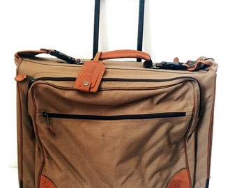 L L Bean Garment Bag Suitcase - Vintage Canvas & Leather Khaki Bifold Luggage - With Rolling Wheels