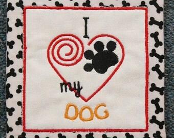 Mug Rug - I love my Dog