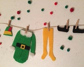 Elf Laundry Clothesline Christmas Decoration